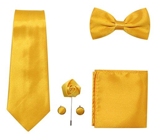 (JAIFEI Men's 5-Piece Necktie Set: Deluxe Necktie + Bowtie + Pair Of Cufflinks + Lapel Pin + Pocket Square Handkerchief For Birthday, Wedding, Anniversary (Gold))