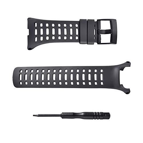 (Sencato Suunto Ambit3 Peak Soft Rubber Replacement Band, Smart Watch Wrist Strap, Black)