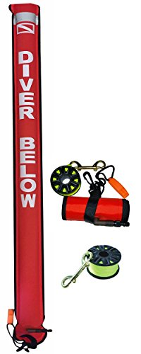 DiveSmart 6ft Scuba Diving Surface Marker Buoy (SMB) Kit with 100ft Finger Spool ABS Dive Reel, High Visibility Surface / Signal Marker, Whistle and Instructional Setup and Deployment Guide (Red) (Surface Buoy Marker)