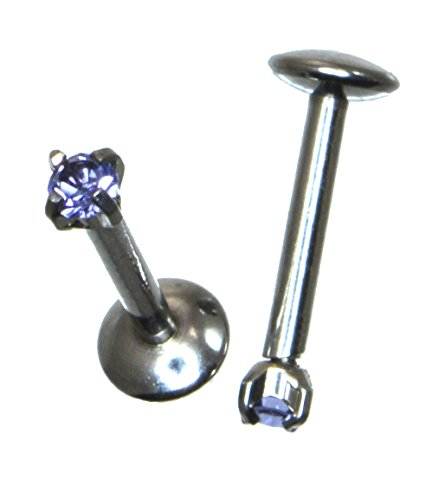 16G 8mm 5/16 Length 316L Surgical Steel Intenally Threaded Labret with Prong Set Blue CZ 852 - Lip Kix