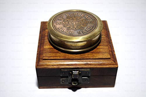 (ROSS LONDON Antique Style Brass Peppers Lonely Hearts Club Band Compass Nautical with Wooden Box)