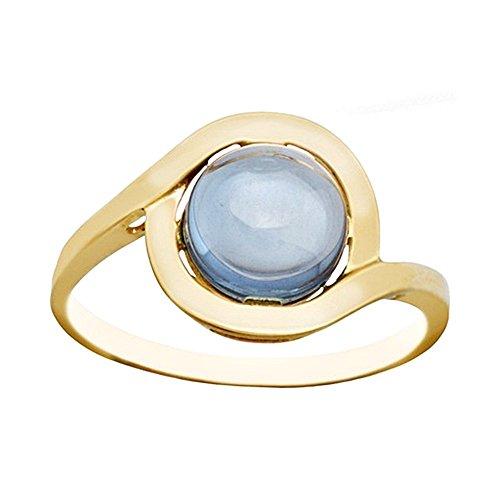 Bague 18k centre aquamarine d'or en pierre [AA6752]
