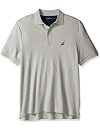 445991bb947e Men's Classic Fit Short Sleeve Solid Soft Cotton Polo Shirt, Grey Heather,  Large