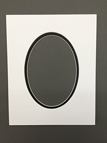 Pack of 5 11x14 White & Black Oval Double Picture Mats Bevel cut for 8x10 ()