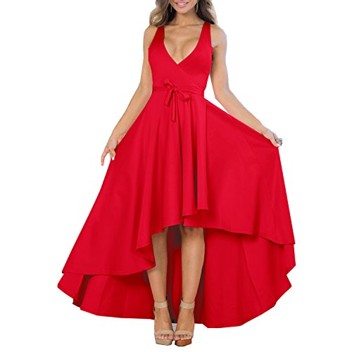 YS.DAMAI Women's Sexy V Neck Sleeveless High Low Hem Elegant Wrap Dress Cocktail Evening Party Dresses (Large, Red)