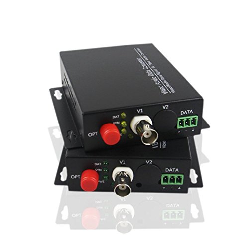 Guantai 1 Channel Digital Video Fiber Optic Optical Converter/Converters 1CH Transmitter/Receiver, FC, Singlemode 20Km, for Analog CCTV Surveillance Security ()