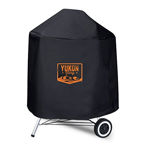 Yukon Glory 7453 Premium Kettle Cover. Water Resistant Heavy Duty Material, Fits 22.5-Inch Charcoal Grills in Black For 2007-- 2014 Models (Not for 2015 Models) (Black Vinyl Premium Grill Cover)