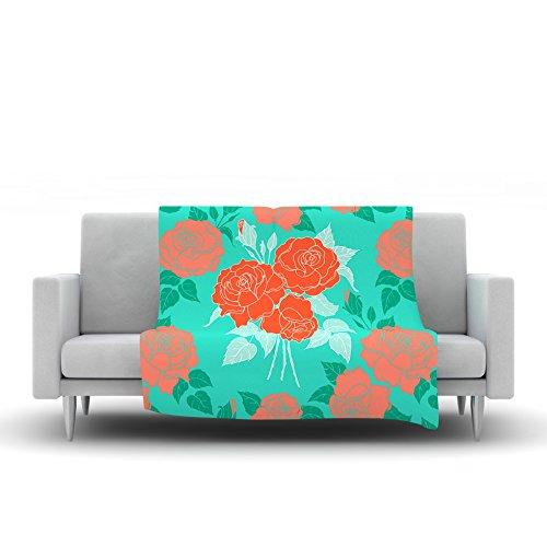 80 by 60 Kess InHouse Anneline Sophia Summer Rose Orange Teal Green Fleece Throw Blanket