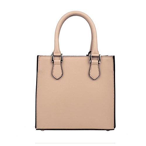 CELESTE M kleine Handtasche Tasche mit Griffen und Taschenverschluss Außen Verschluss mit verstellbaren Riemen Glattleder himmlisch