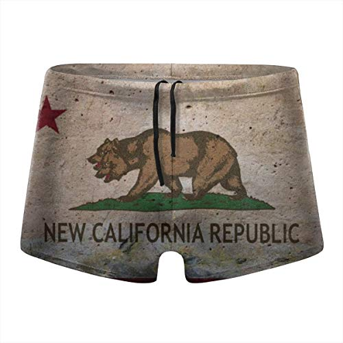 California Flag Double Headed Bear Mens Compression Swimsuit Quick Dry Board Shorts Boxer Brief Tights Swim Trunks -