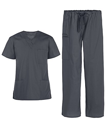 Men's Medical Uniform Scrub Set – Includes 3 Pocket V-Neck Top and Drawstring Pant (XS-3X, 14 Colors) (Large, Pewter)