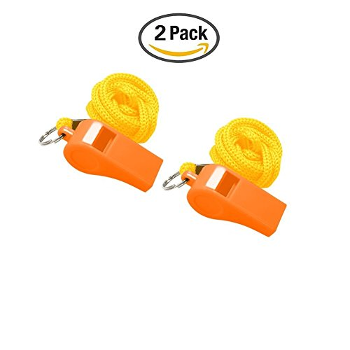Golvery Coaches Referee Whistle with Lanyard, 2 Orange Plastic Whistles for School Sports, Soccer, Football, Basketball and Lifeguard, Survival Emergency Dog Training (2 of (Devil Horms)