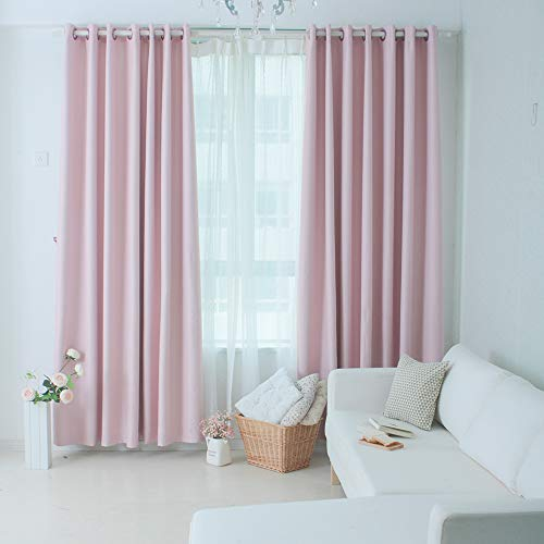 2 Panels Blackout Curtains with Gromment,52 x 94 in Pink Long Draperies for Bedroom Living Room Kitchen Door Patio (Sliding 94 Patio Door Inch)