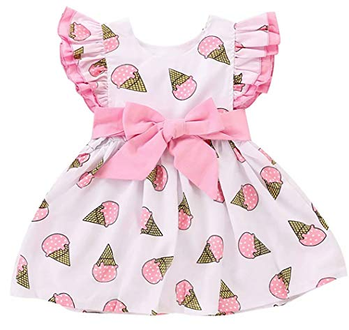 LOTUCY Toddler Girls Dress Cute Ice Cream Print Dresses Summer Sundress Fly Sleeve Dress Outfits (Pink, 6-12 Months/Tag80)