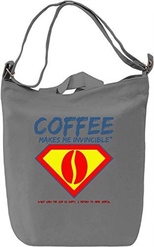 Coffee makes me invincible Borsa Giornaliera Canvas Canvas Day Bag| 100% Premium Cotton Canvas| DTG Printing|