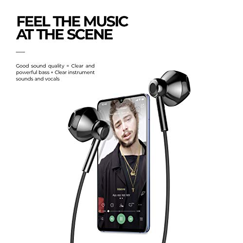 Linklike Quad Dynamic Drivers Air-flow Hi-Res Extra Bass Headphones Noise Isolating Wired Earbuds with Microphone, Lightweight Earphones with Volume Control 3.5mm Jack In-Ear Headphones (Bright Black)
