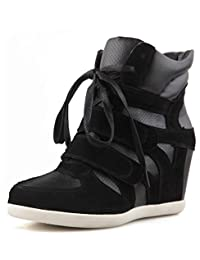 D2C Beauty Women's High Top Lace Up Suede Wedge Sneakers