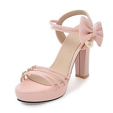 Sandalias Primavera Verano Otoño Slingback PU Oficina & Carrera parte & traje de noche Chunky talón Bowknot negro perla Rosa Púrpura Blanco beige Blushing Pink