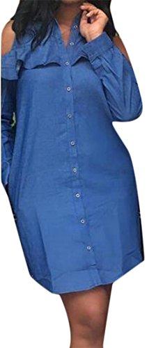 Cruiize Des Femmes De L'épaule Froid À Long Bouton Volants Manches Bas Robe Chemise Bleue