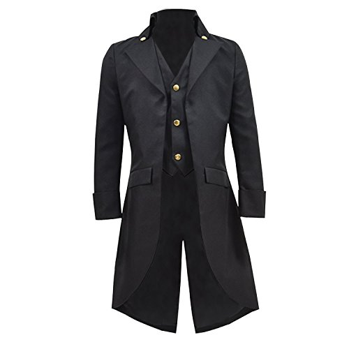 COSSKY Boys Gothic Tailcoat Jacket Steampunk Long Coat Halloween Costume (Black, 8) ()