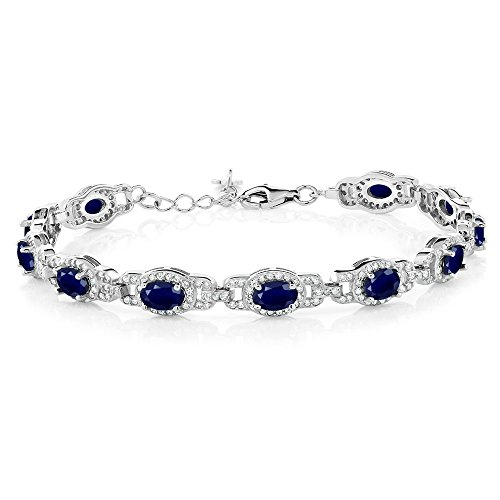 - Gem Stone King 9.65 Ct Blue Sapphire 925 Sterling Silver 7 Inch Bracelet With 1 Inch Extender
