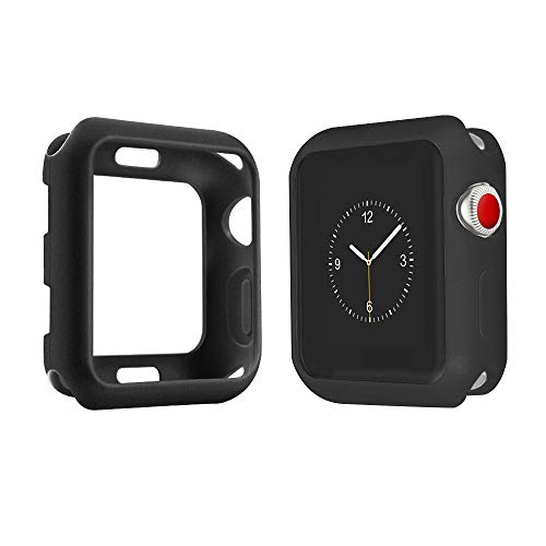 top4cus Environmental Soft Flexible TPU Anti-Scratch Lightweight Protective 38mm Iwatch Case Compatible Apple Watch Series 4 Series 3 Series 2 Series 1 Matte Style - Black