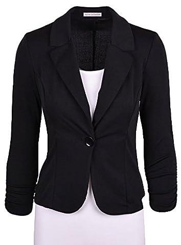 King Ma Women's Lapel Slim Fitted Long Sleeve One Button Blazer Jacket (Office Coat)
