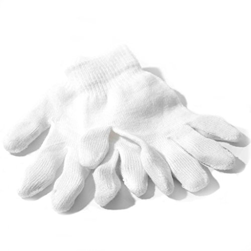 Mario Costumes Gloves (White Gloves - Regular Size Magic Stretch Spandex Acrylic Polyester Cotton Premium Winter Knit Gloves (1 Pack))