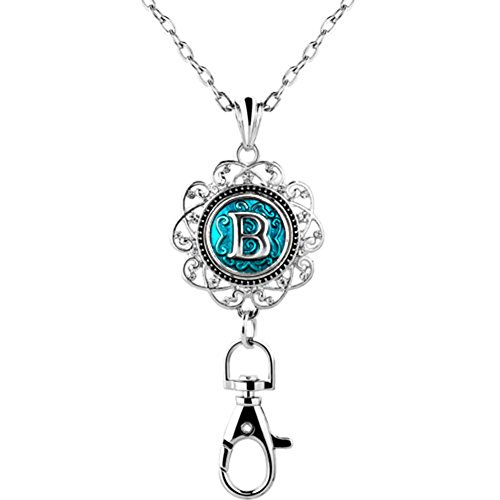 Mel Crouch Women Office Lanyard ID Badges Holder Necklace Keychain with letter A-Z Snap Charms Clip (B) ()