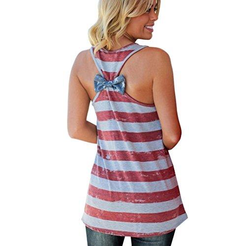 Women Vest, UMFun July 4th Women American Flag Stripe Printed Bowknot Tank Tops Casual Blouse T Shirt-Shirt