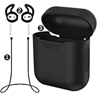 misodiko Pack of 3 Accessories for Apple AirPods, Soft Silicone Protective Case& Anti-lost Strap& Ear Cover Hooks, Black