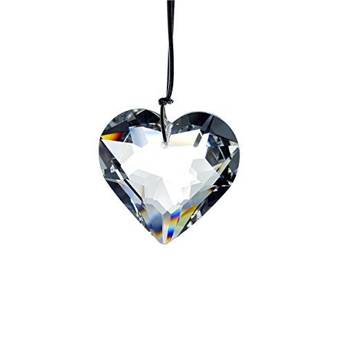 #841-AB, Crystal AB Full Lead Heart Ornament by Crystal Florida