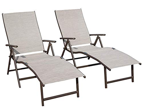 Kozyard Cozy Aluminum Beach Yard Pool Folding Reclining Adjustable Chaise Lounge Chair (2, Beige) (Storage Target Outdoor)