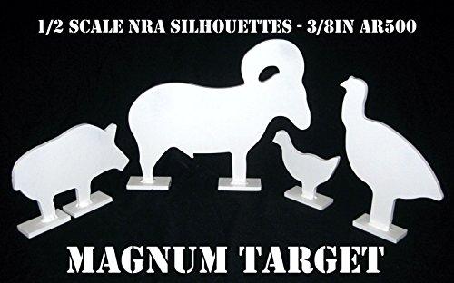 1/2 Scale IHMSA/NRA Metallic Silhouette Targets - 4pc AR500 Steel Rifle ()