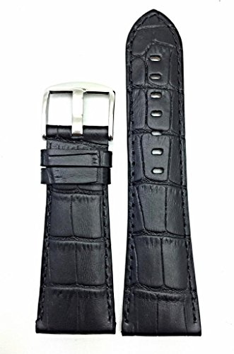 30mm Black Genuine Leather Watch Band | Square Crocodile Alligator Grained, Padded Replacement Wrist Strap That Brings New Life to Any Watch (Mens Length)