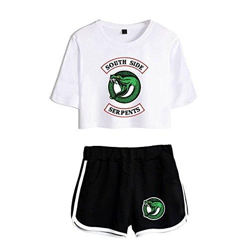 e Top Top Maglietta Corte TV Riverdale amp; Crop Southside T Serpents Fans Shirt Maglia 4 Manica Pantaloncini Pantaloncini Z68wqBx8