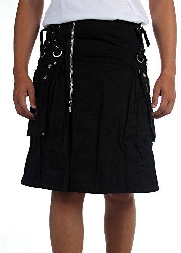 Tripp NYC - Mens Super Cargo Pocket Kilt, Size: X-Large, Color: Black