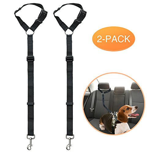 Pettogo 2 Pack Dog Seat Belt, Adjustable Dog Safety Vehicle Seatbelt Fit All Car Headrests, Adjustable Nylon Fabric Vehicle Headrest Restraint Safety Straps for Dogs and Other Pets