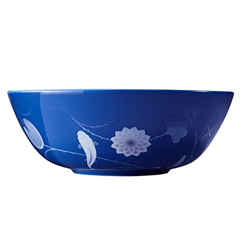 ZENS lifestyle Salad Bowl Bone China 51OZ Large Serving Bowl Blue for Pasta Cereal Dessert Lotus and Fish Gradient Pattern by ZENS