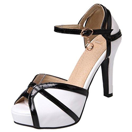 COOLCEPT Damen Mode Knochelriemchen Riemchen Sandalen Hohe ferse Plateau Peep Toe Schuhe Gr White