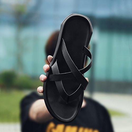 Negro Refrigeración Zapatillas de Sandalias Masculinas Hombre de del Espina Pez Verano Personalidad Sandalias Casual de Antideslizante la Playa RTqvw