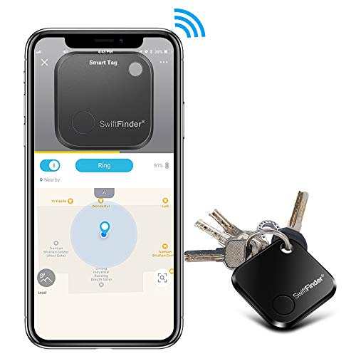 Key Finder,Phone Finder,Bluetooth Tracking Locator for Keys,Wallet,Bag,Luggage,with App Control,Smart Anti Lost Alarm,for iPhone iOS/Android Compatible,Replaceable Battery (Slim Black)