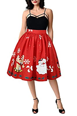 Meenew Women's Elastic Flared Pleated Christmas Printed Party Mini Skater Skirt