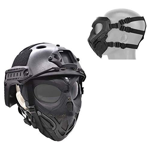 WLXW Masque De Protection Tactique Airsoft, Masque Complet Double Mode Portant Conception avec Sangle Réglable pour… 3