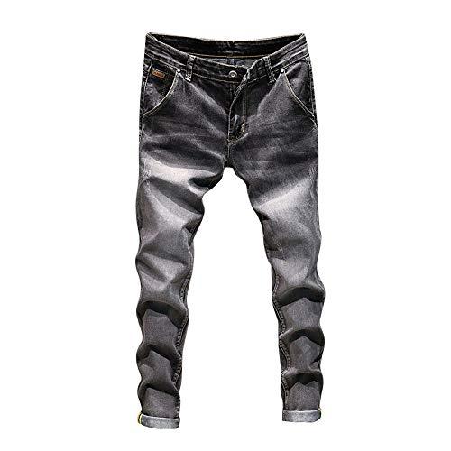 Dei Casual Casuale Di Denim Da Pantaloni hop Jeans Della Jiameng Lavoro Dell'annata Cotone Grigio Hip Lavata Uomo Del EC0qxw