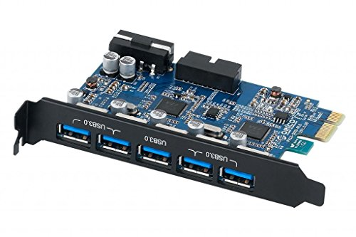 ORICO 7 Port USB 3.0 HUB Host Controller PCI Express Card Adapter with 5 Rear USB 3.0 Ports and Internal USB 3.0