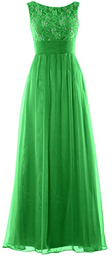 MACloth Women Lace Chiffon Long Prom Dress Wedding Party Formal Evening Gown Verde