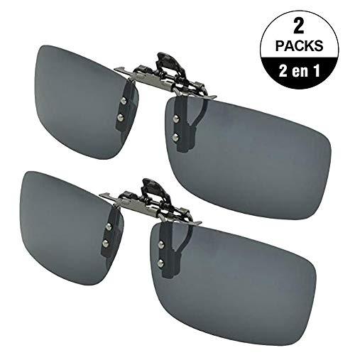 2 Unidad Gafas Clip de Sol, Gafa de Computadora Polarizada con Clip de Metal Lente Irrompible contra UV400, Filtro de Luz...