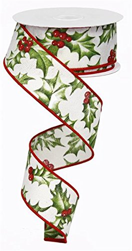 - Holly Berry Wired Edge Ribbon - 10 yards (1.5