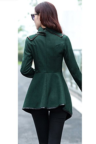 Las Mujeres Elegantes Oblicua Cremallera De Manga Larga Chaqueta De Abrigo Chaqueta De Corte Irregular Green